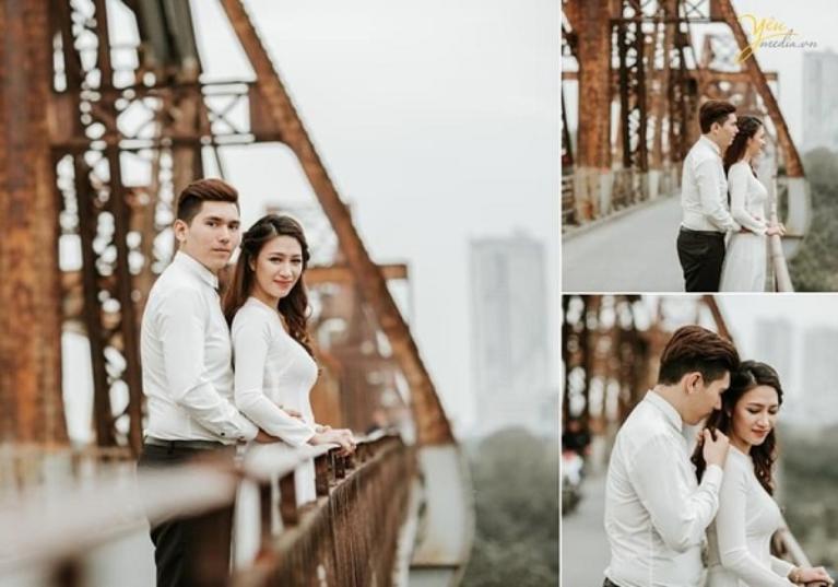 Quay phim cưới tại cầu Long Biên
